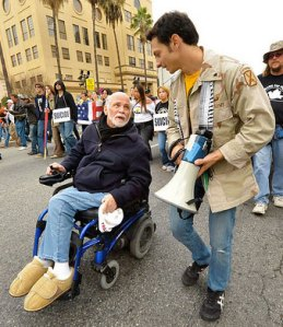 Ron Kovic and Michael Prysner lead anti-war march in Los Angeles. U.S