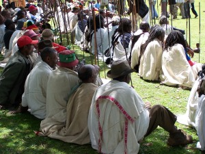 Community gathering in the Dorbo sacred pasture land to get blessing from indigenous religious leaders (sitting in the front row) by  Desalegn Desissa