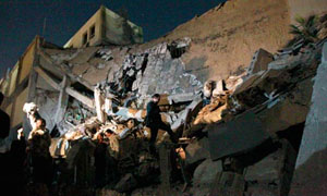 Reduced to rubble, main government building, Tripoli after an airstrike by foreign-forces