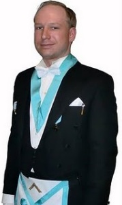 Suspect, Anders Behring Breivik wearing a Masonic apron and outfit.