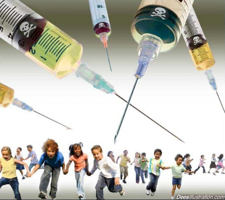 Australia Threatening Parents if they don't Vaccinate their Children* Kids-flee-deadly-vaccine-by-david-dees